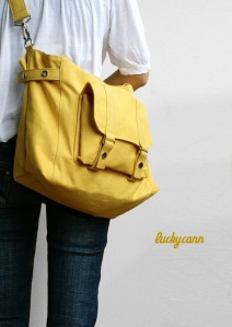 Handmade canvas laptop bag in Lemon Chiffon $45 luckycann
