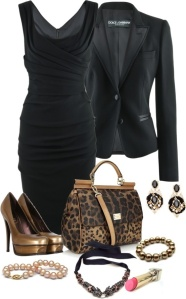Pair a black jacket with a little black dress for a tuxedo look.