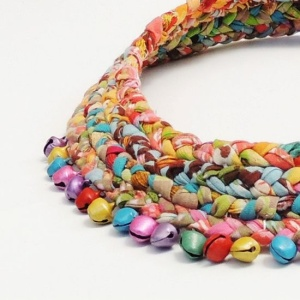 Multicolored braided fabric scarf necklace with bells by ATLIART, $80.00