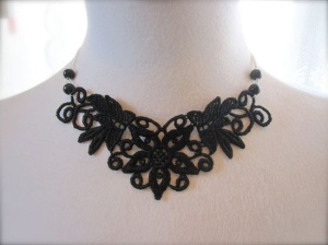 Black Lace Necklace Victorian Choker Fabric by JoolaDesigns, $25.00