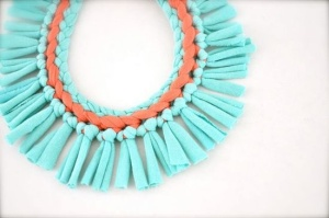 Turquoise Coral Statement Necklace Pastel Tribal by Pamplepluie, $32.00