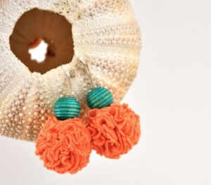 Bohemian Coral Turquoise Earrings Pom Pom Recycled by Pamplepluie, $18.00