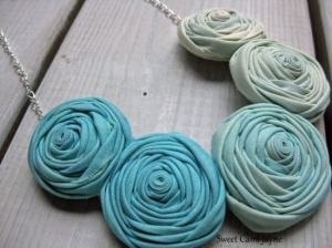 Ombre Rosette Necklace Light Blue Fabric by SweetCamiJayne on Etsy, $25.00