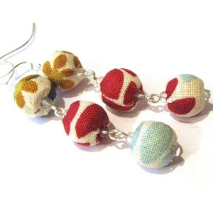 Fabric Earrings Beaded Jewelry by kangas on Etsy, $21.00