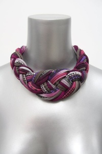 Collar Necklace Braided Tribal Knotted Choker Fabric by Necklush, $55.00